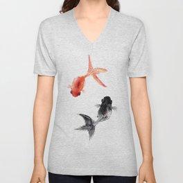 Two KOI , Feng Shui, Fish art, Unisex V-Neck