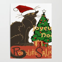 Joyeux Noel Le Chat Noir With Tree And Gifts Poster