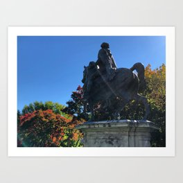 Statue Amongst the Changing Colors Art Print