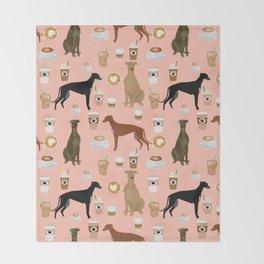 Greyhound coffee dog breed illustration dog art custom dog breeds groundhound rescue dog lovers Throw Blanket