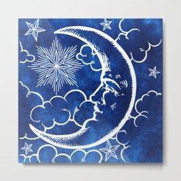 Moon vintage blue Metal Print