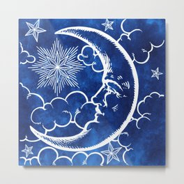 Moon vintage blue Metal Print