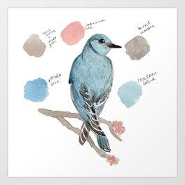 Watercolor Mountain Blue Bird Illustration Art Print