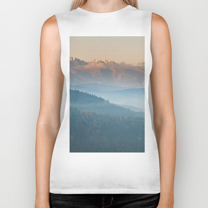 The mountains are calling #sunset Biker Tank