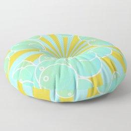 Aqua bubbly art Floor Pillow