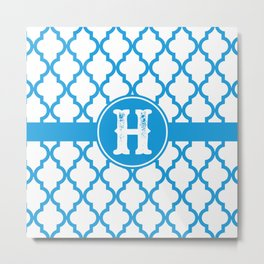 Blue Monogram: Letter H Metal Print