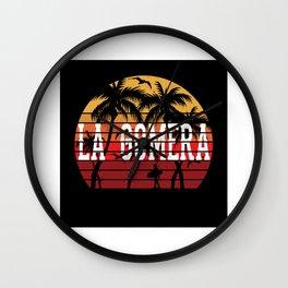La Gomera Palm Tree Holiday Motif Gift Idea Design Wall Clock
