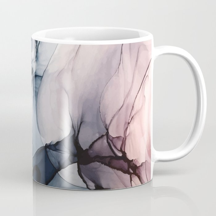 Blush, Navy and Gray Abstract Calm Clouds Kaffeebecher