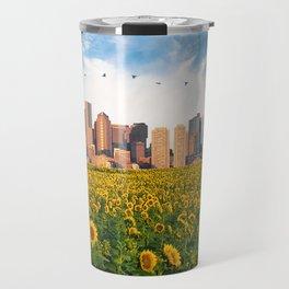 Boston Massachusetts Skyline and Sunflower Field Travel Mug