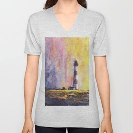 Bodie Island lighthouse at sunset in the Outer Banks (OBX) of North Unisex V-Neck