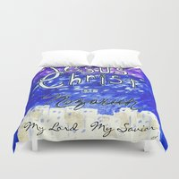 christ Duvet Covers featuring Faith In Christ by Artsy Craftery Design Studio