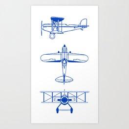 Blue Biplanes Art Print