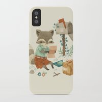 raccoon iPhone & iPod Cases featuring Raccoon Post by Teagan White