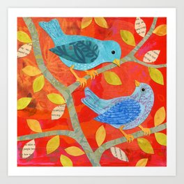 Two Birds on Red Art Print