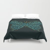 tron Duvet Covers featuring Mechanical Butterfly by Picomodi