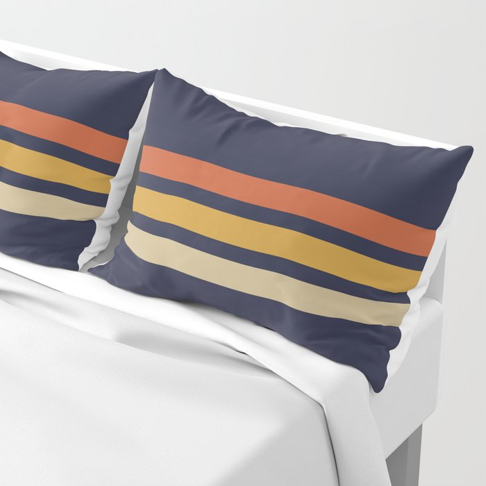 Vintage Retro Stripes Pillow Sham