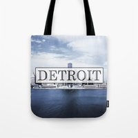 detroit Tote Bags featuring Detroit Typography by Evan Smith