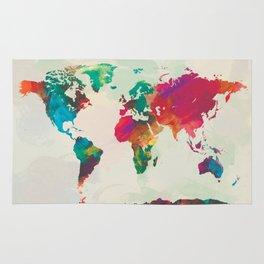 Watercolor World Map Rug
