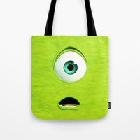 monster inc Tote Bags featuring Monster Inc Mike by Veylow