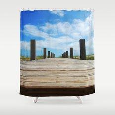 Baldhead island  Shower Curtain
