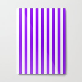 Narrow Vertical Stripes - White and Violet Metal Print