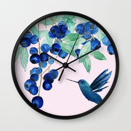 blueberry and humming bird Wall Clock