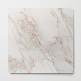 Marble Rose Gold Blush Pink Metallic by Nature Magick Metal Print