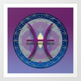 PISCES Flower of Life  Astrology Design Art Print