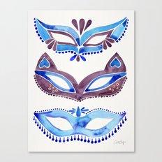 Masquerade Mask Trio – Navy & Grey Palette Canvas Print