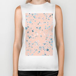 Turquoise Shimmery Terrazzo on Pink Biker Tank