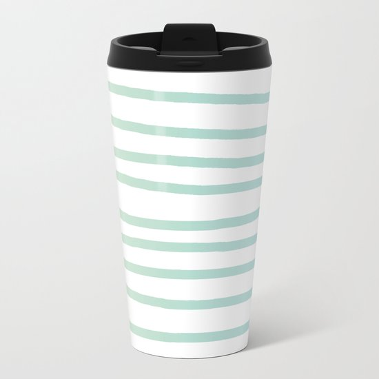 Simply Drawn Stripes in Turquoise Green Blue Gradient on White Metal Travel Mug