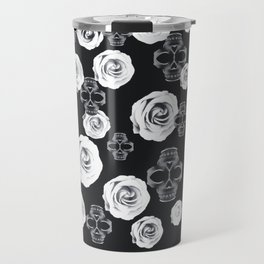 vintage skull and rose abstract pattern in black and white Travel Mug