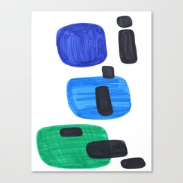 Mid Century Modern Abstract Minimalist Art Colorful Shapes Vintage Retro Style Blue Marine Green Canvas Print