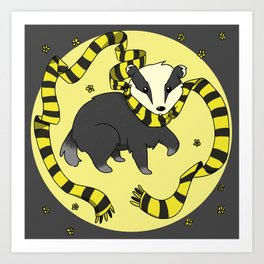 Hard Working Badger (gray) Art Print