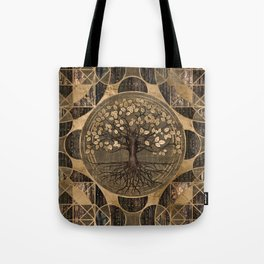 Tree of life - Yggdrasil - Wood and Gold Tote Bag