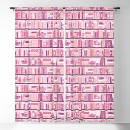 Bookcase Pattern Romance Pink Books Blackout Curtain