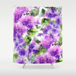 Lilac flowers. Watercolor lilac blossom. Violet florals. Shower Curtain