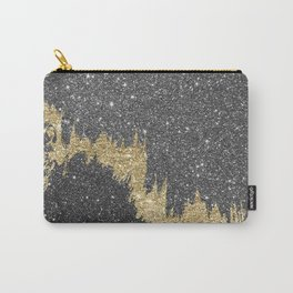 Chic black gold glitter abstract brushstrokes Carry-All Pouch