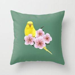 Yellow Budgerigar Throw Pillow