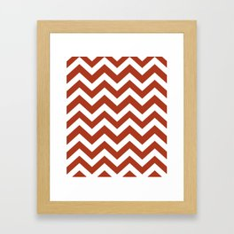 Chinese red - brown color - Zigzag Chevron Pattern Framed Art Print