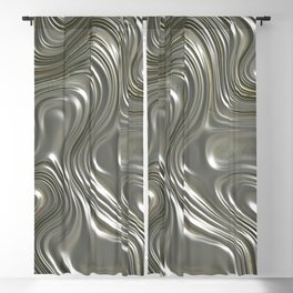 Modern abstract metal geometrical lines pattern Blackout Curtain