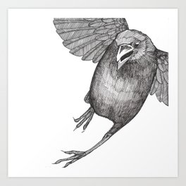Crow Caws at You While Flying Away Art Print