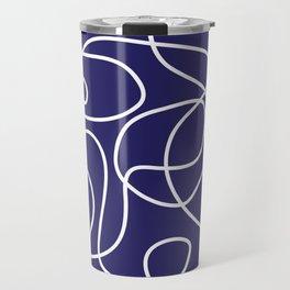 Doodle Line Art | White Lines on Navy Blue Travel Mug