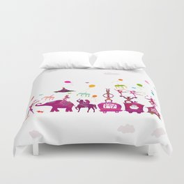 colorful circus carnival traveling in one row on white background Duvet Cover