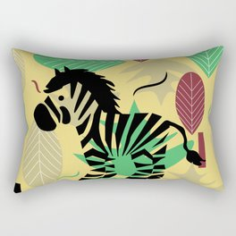 Zebra with leaves and dots Rectangular Pillow