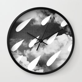 Storm Clouds + Droplets Wall Clock