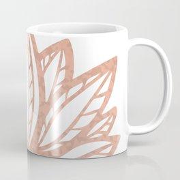 Lotus flower outline tattoo, Rose gold foil boho chic floral design Coffee Mug