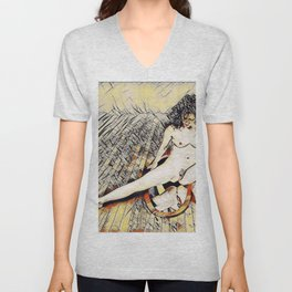 6078s-KD Mirror Reflections Erotic Art in the style of Wassily Kandinsky Unisex V-Neck
