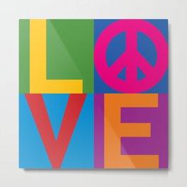 Love Peace Color Blocked Metal Print