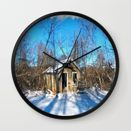 Old House in the Snow Wall Clock